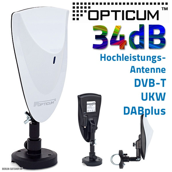 opticum gl700 dvb t2 antenne 34db aktiv innen au en hohe verst rkung hdtv hd dab ukw nur 13 95. Black Bedroom Furniture Sets. Home Design Ideas