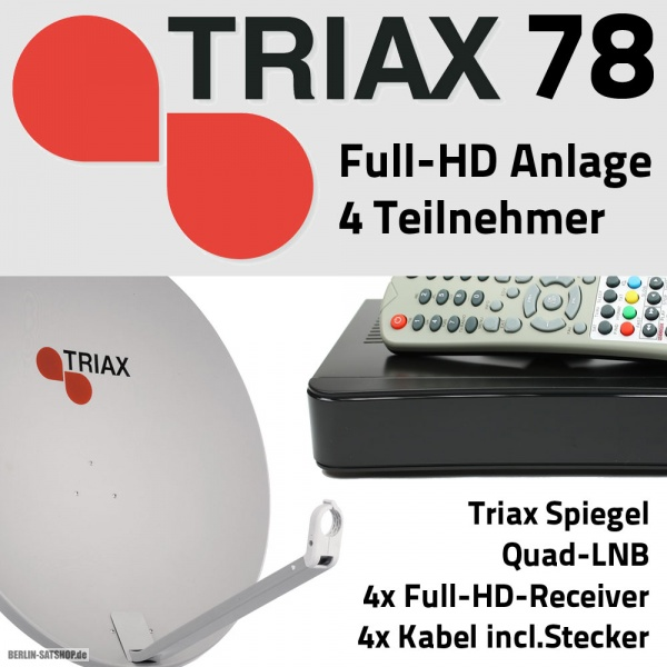 triax 78 full hd sat anlage f r 4 teilnehmer mit alu spiegel nur 199 95 berlin satshop. Black Bedroom Furniture Sets. Home Design Ideas