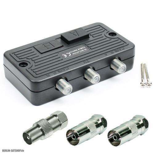 set antennen umschalter 3x iec adapter verteiler weiche sat bk kabel schalter ebay. Black Bedroom Furniture Sets. Home Design Ideas